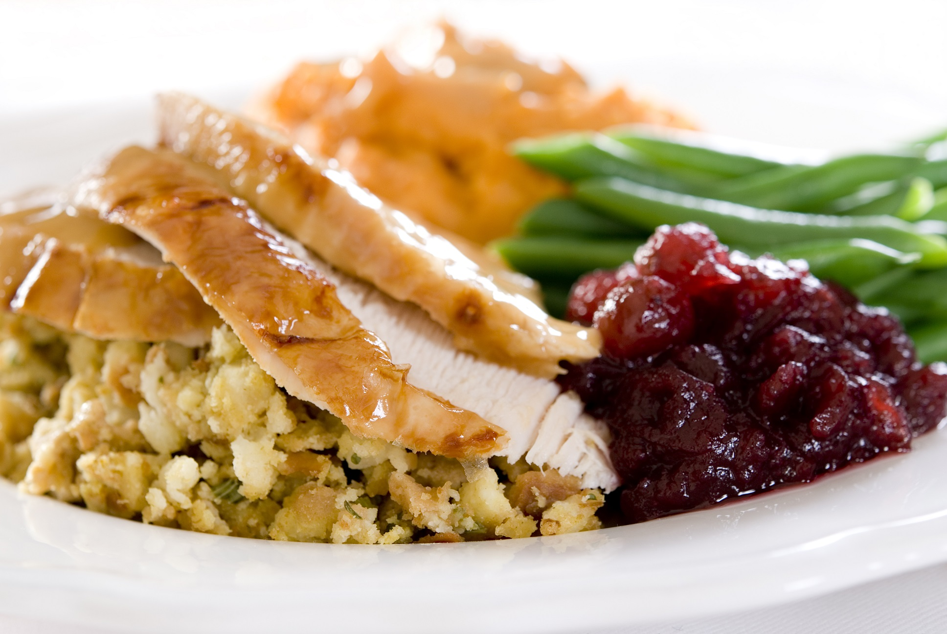plate of turkey cranberries stuffing and green beans