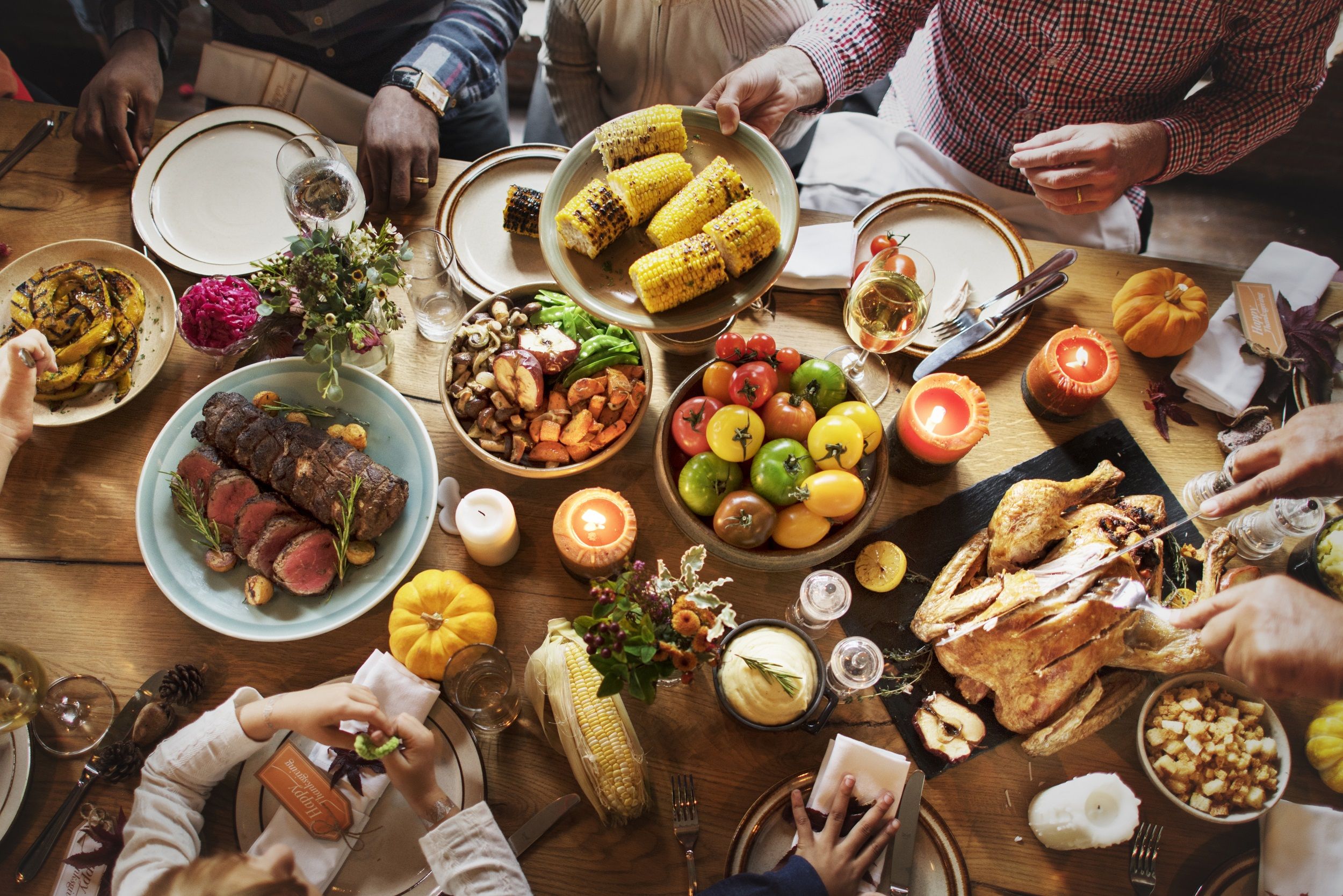 thanksgiving day feast on wooden table