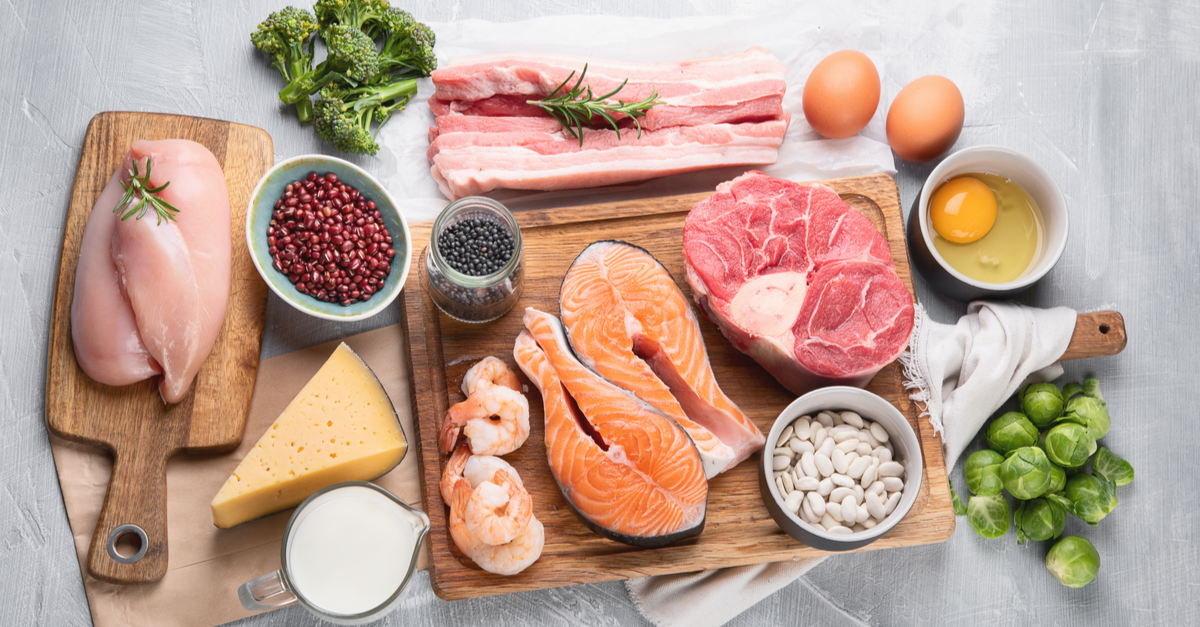 high protein foods laying on cutting boards