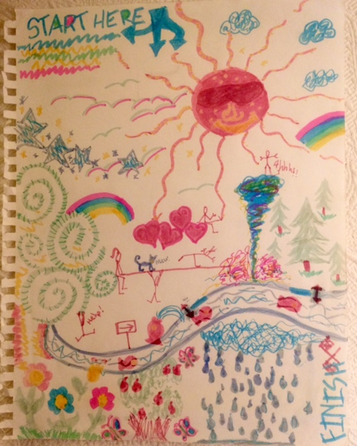 A colorful child's drawing of a sunny landscape.