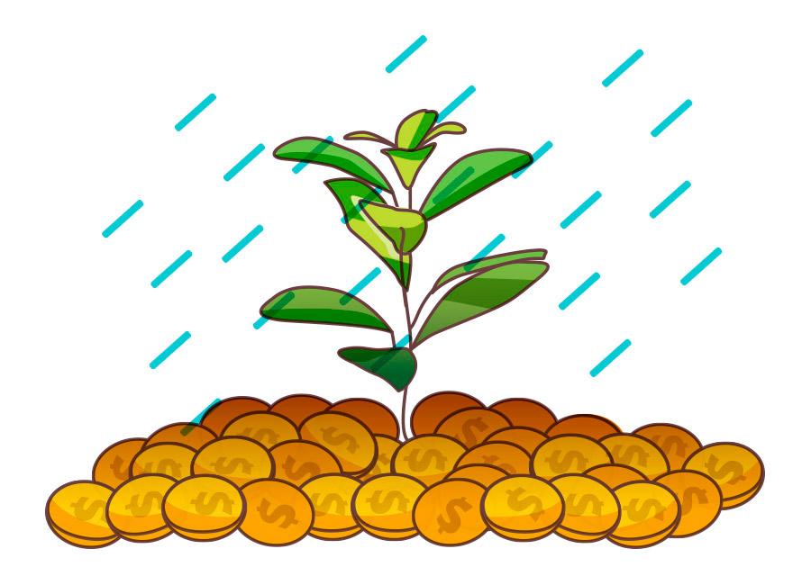 O Marketing Digital é melhor que os outros métodos tradicionais de divulgação de produtos e/ou serviços. Na imagem, uma muda de planta cresce abundante em uma pilha de moedas, sendo a metáfora do solo férti.