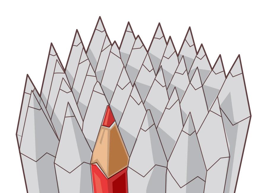 Quem não é visto, não é lembrado. Na imagem, uma coleção de lápis cinzas, e apenas um se destaca, no vermelho.