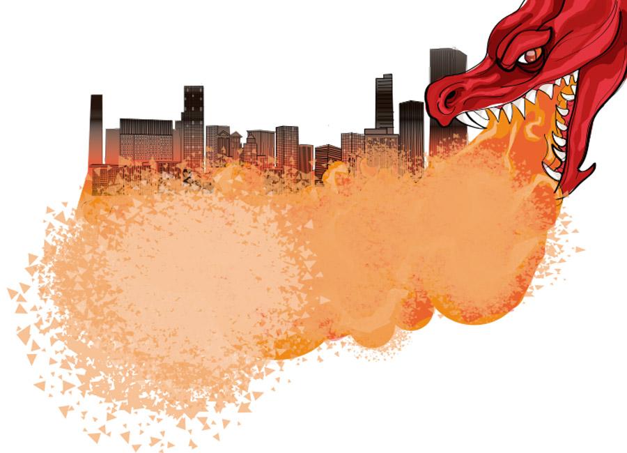 Dragão cospe fogo em cidade