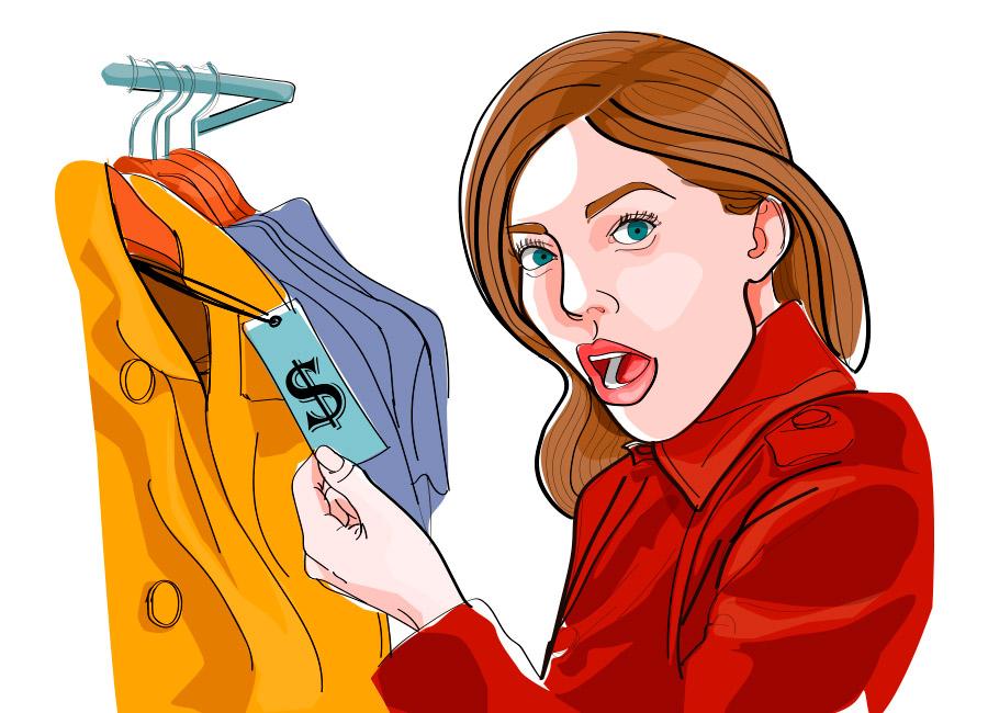 Mulher se espanta com preço de roupa