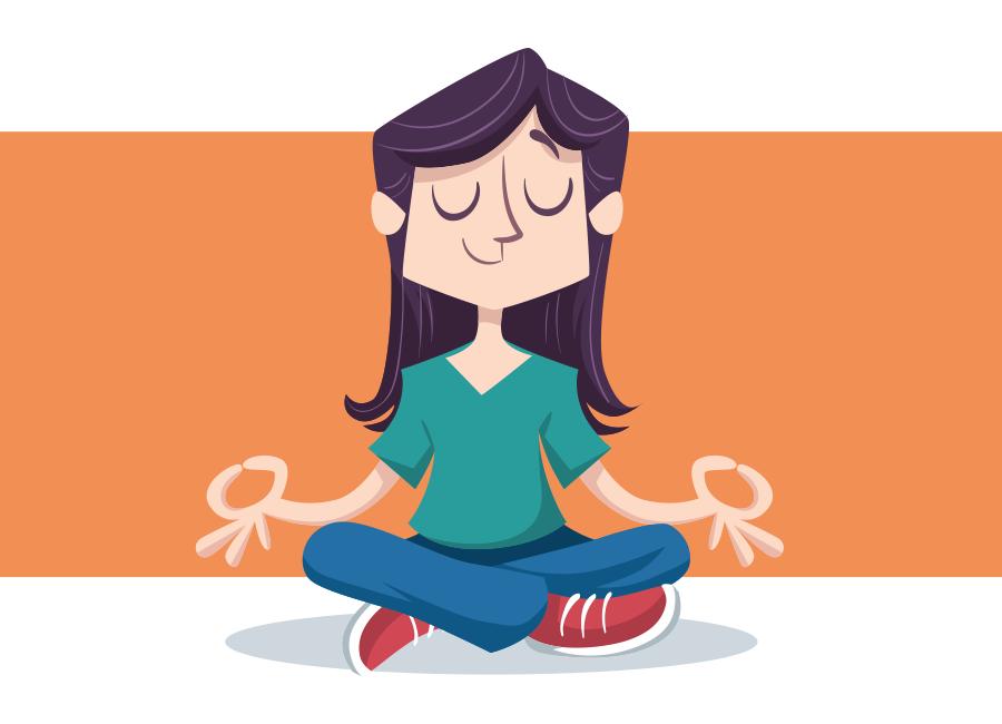 Mulher com expressão serena, em posição de meditação