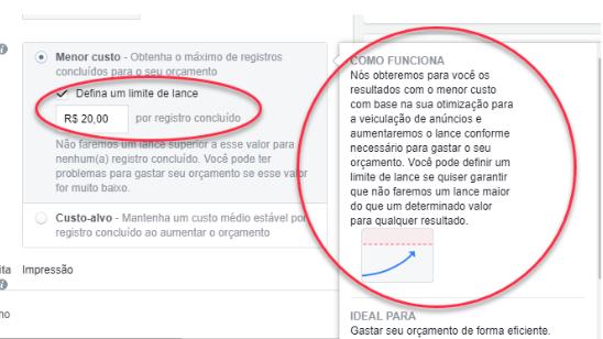 Investir no lance manual com custo máximo, o Facebook te entrega leads muito mais qualificados.