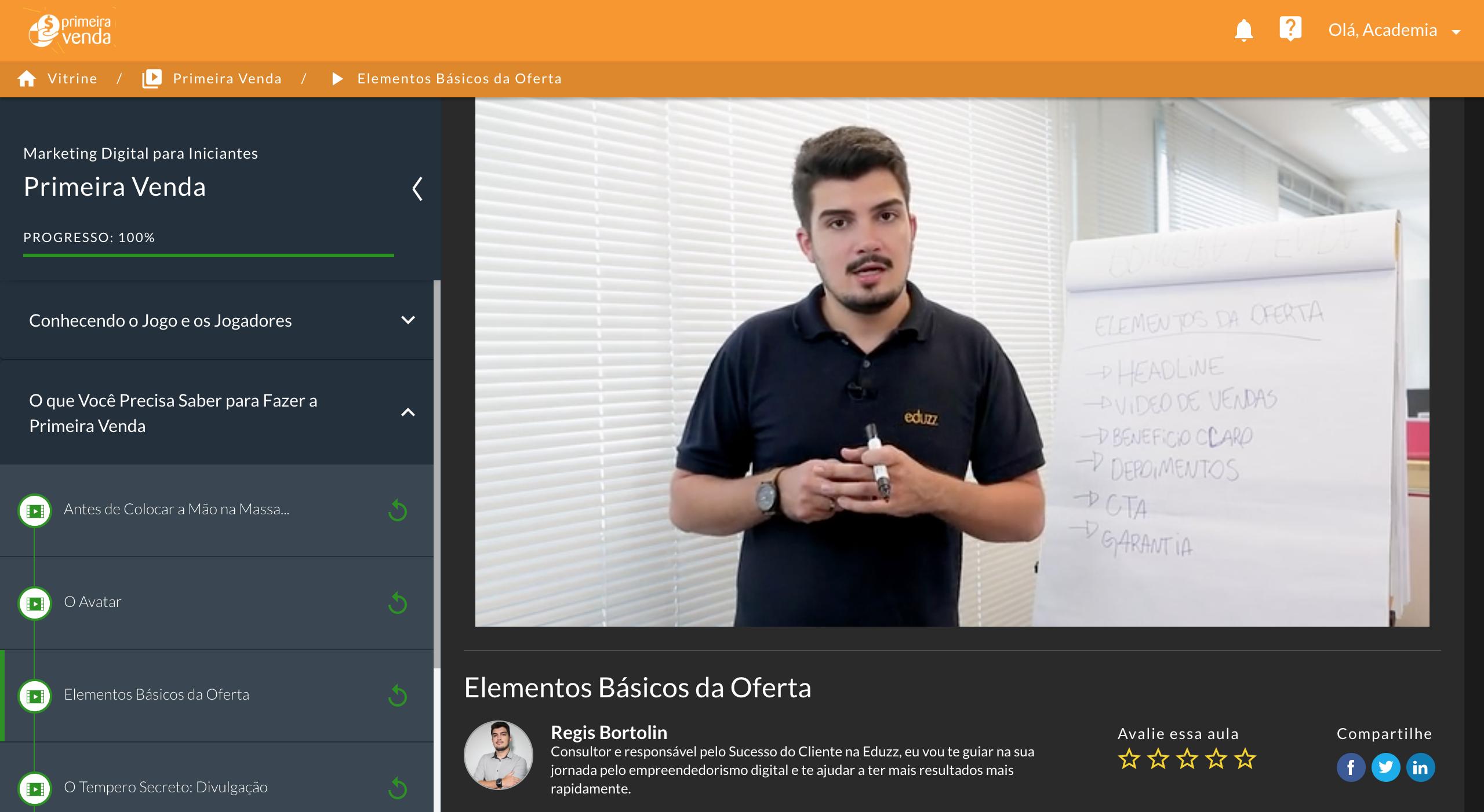 O Nutror é uma área de membros completa para quem deseja vender cusos online. Na foto, a tela de um dos cursos gratuitos da Academia 360, o Primeira Venda.