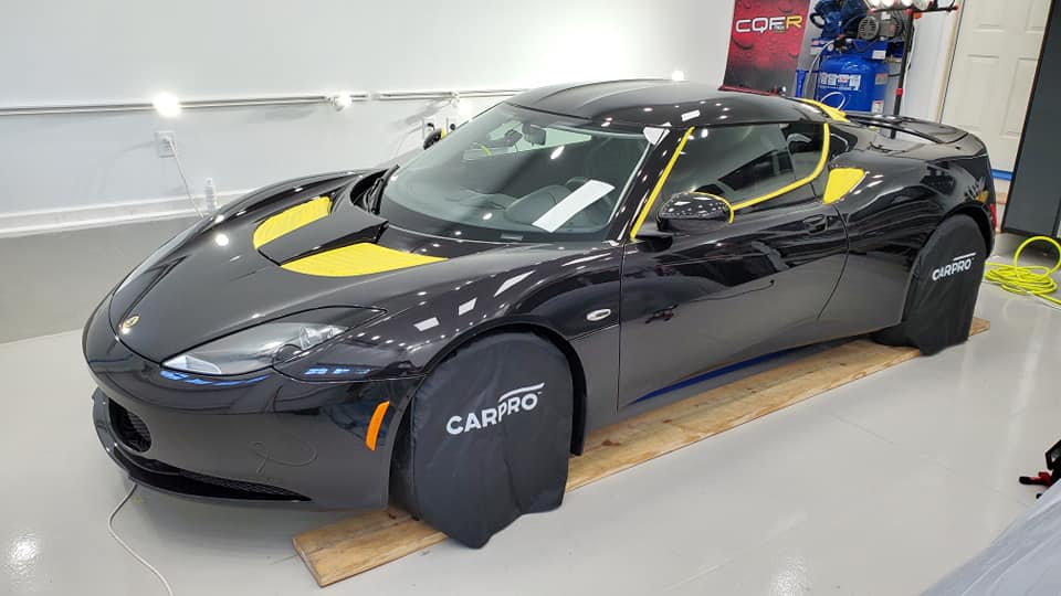 Lotus during ceramic coating installation in Raleigh NC