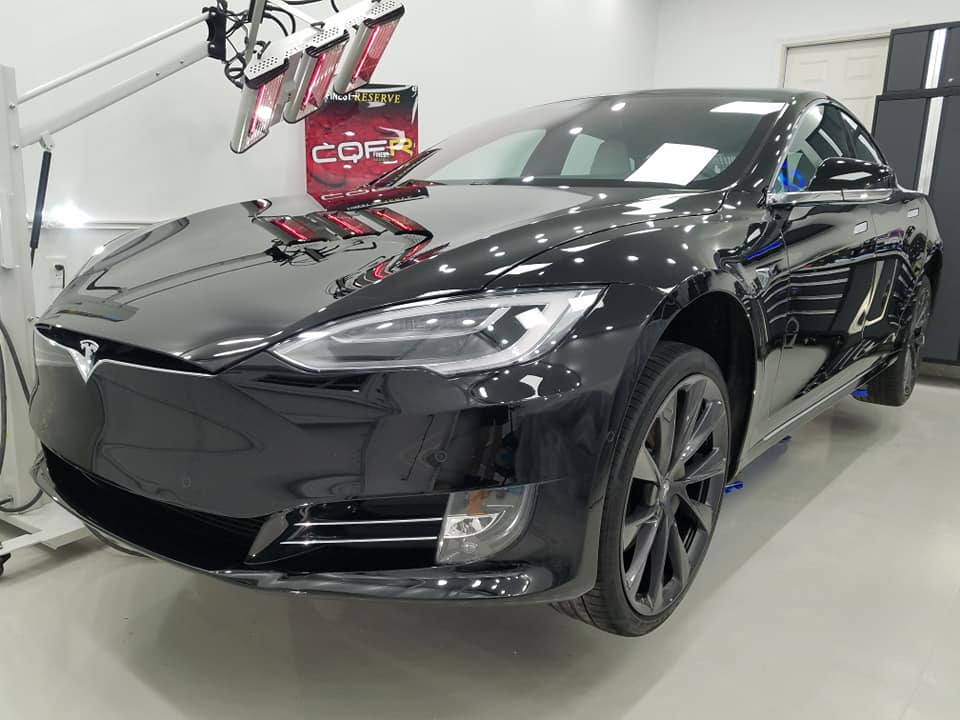 Ceramic coating curing on Tesla Model S