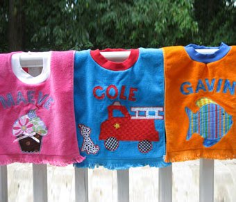 A sample of custom bibs
