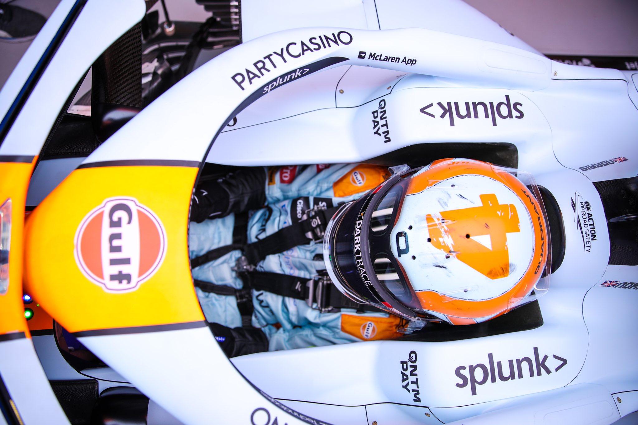 Lando Norris 2021 McLaren Gulf Retro Monaco Formula 1 Driver Helmet Design