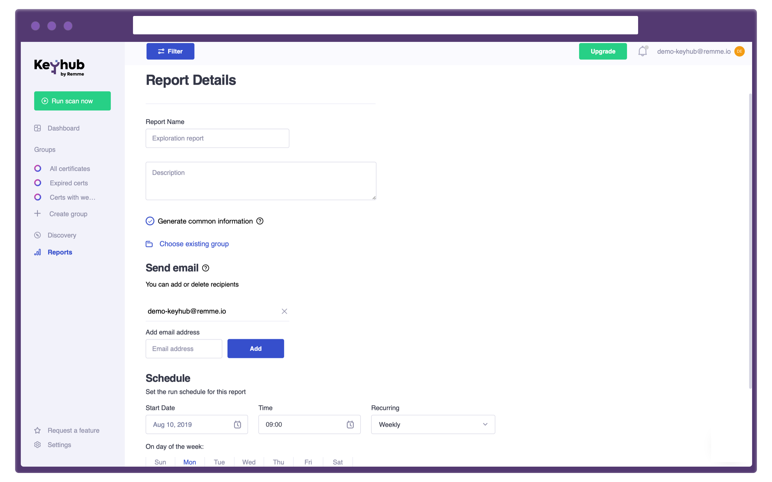 Keyhub: set up automated certificate report