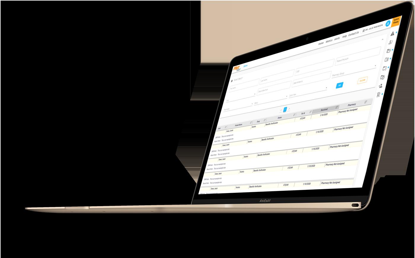 Screenshot of the Phyz Prescriber Portal in a laptop