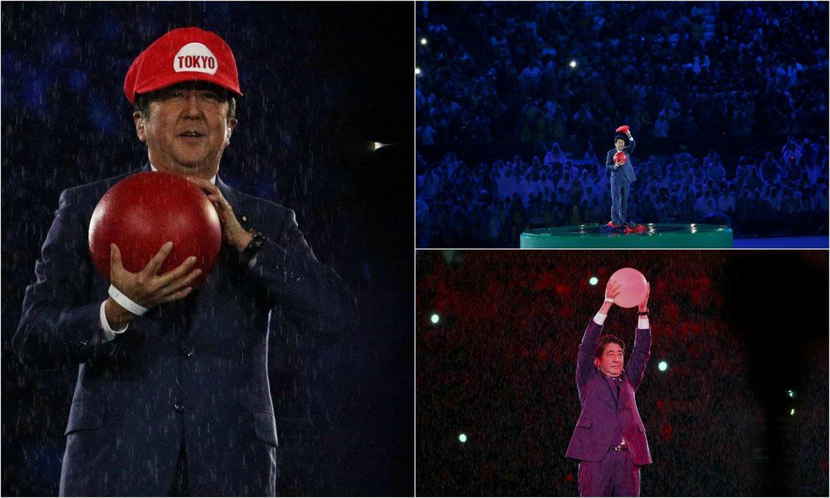 Primeiro ministro japonês vestido de Mario Bros nas Olimpiadas