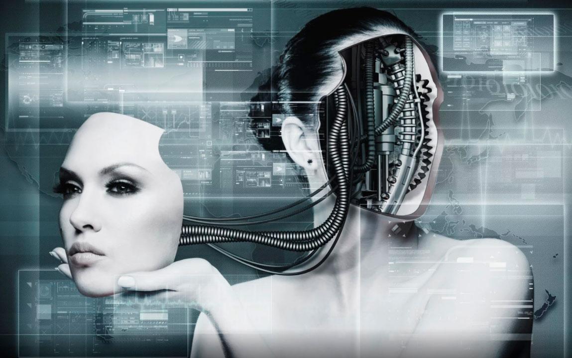 Mulher humanóide com rosto robótico