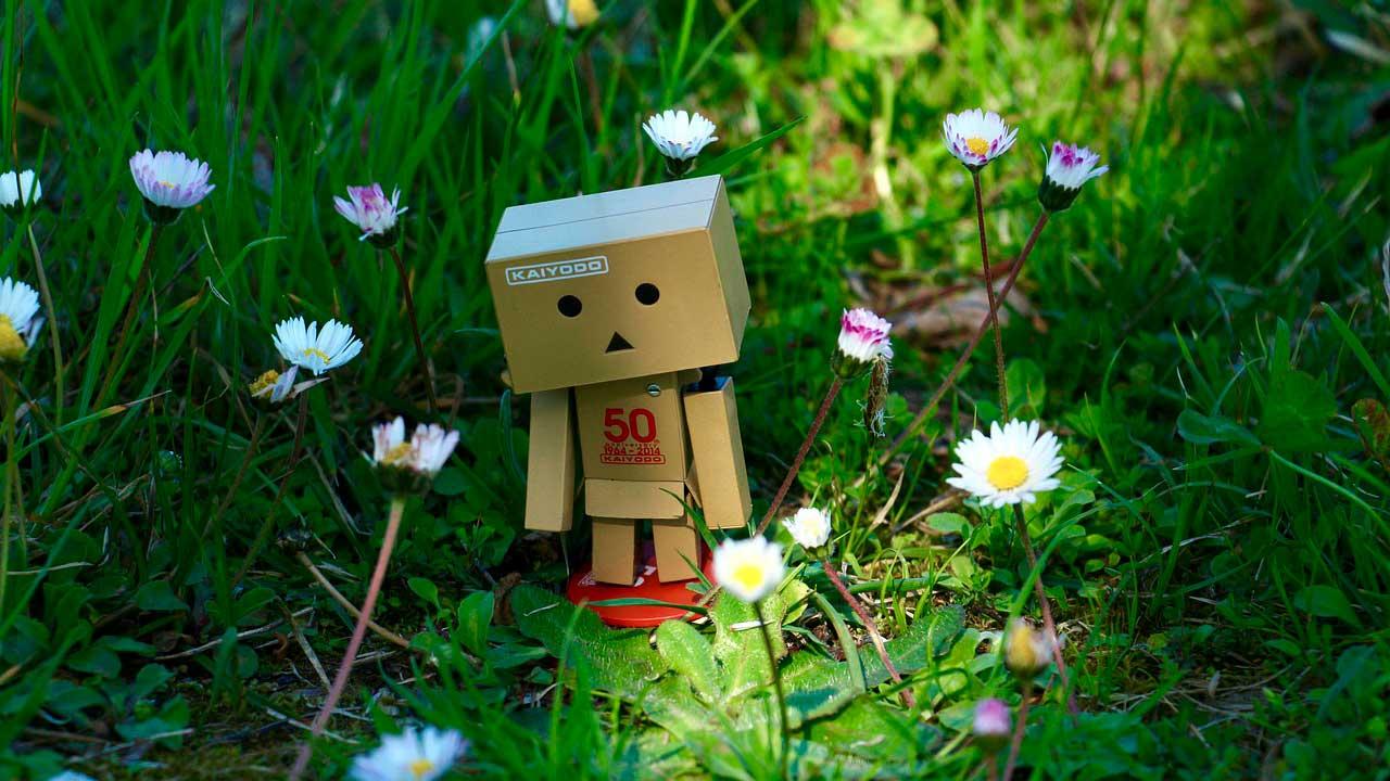 Bonequinho feito por caixas perdido na grama alta