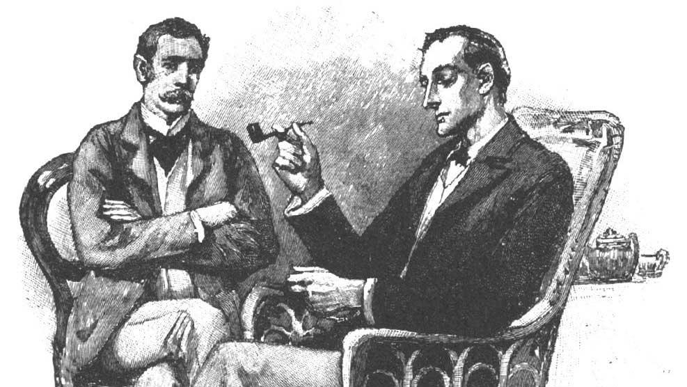 Gravura de Sherlock Holmes e Watson