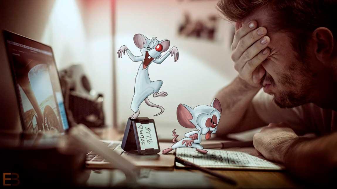 Pinky e o Cerebro fazendo caretas