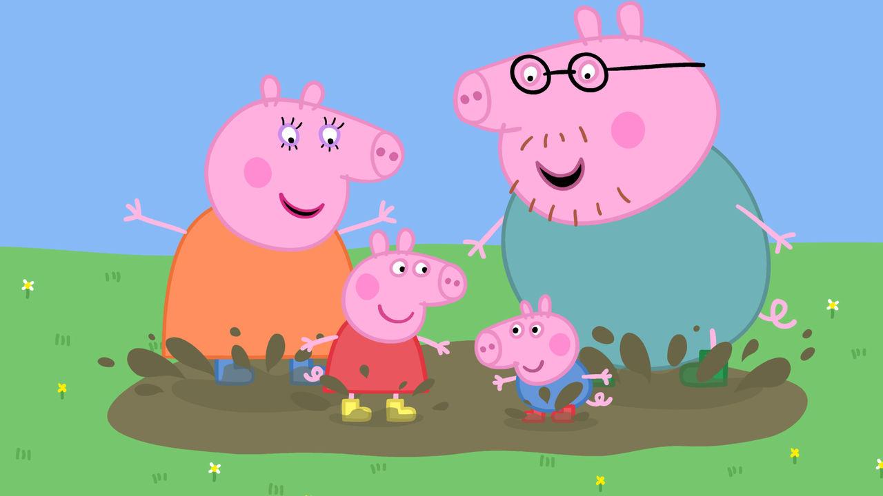 4 motivos para seus filhos assistirem Peppa Pig - Família Pig pulando na lama