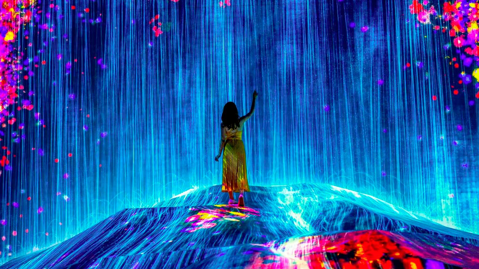 Garota olhando obra do Mori Building Digital Art Museum: teamLab Borderless.