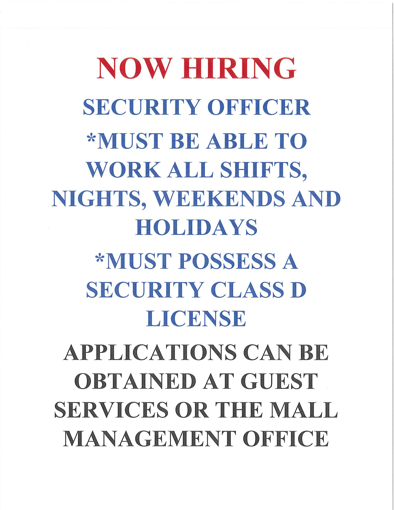 application information for security guard positions at Indian River Mall