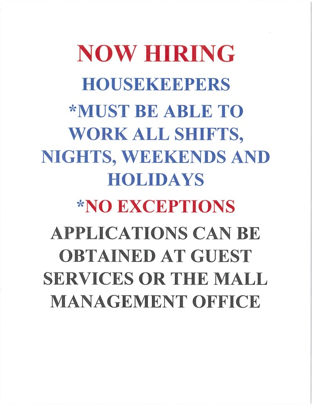 application information for housekeepers at Indian River Mall