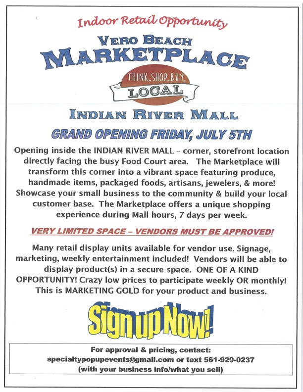Image of a flyer with details for vendors of Vero Beach Marketplace