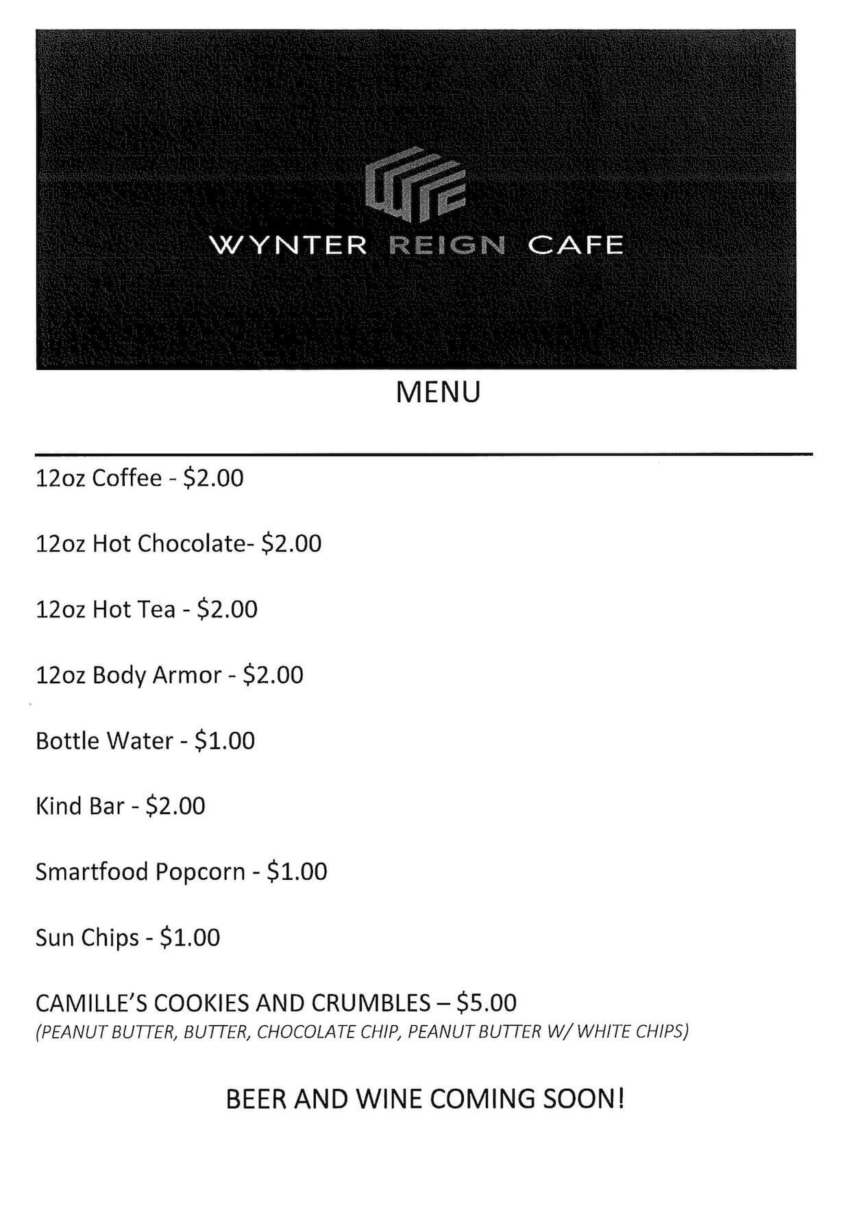 Photo of the menu. Transcribed text in the event description.