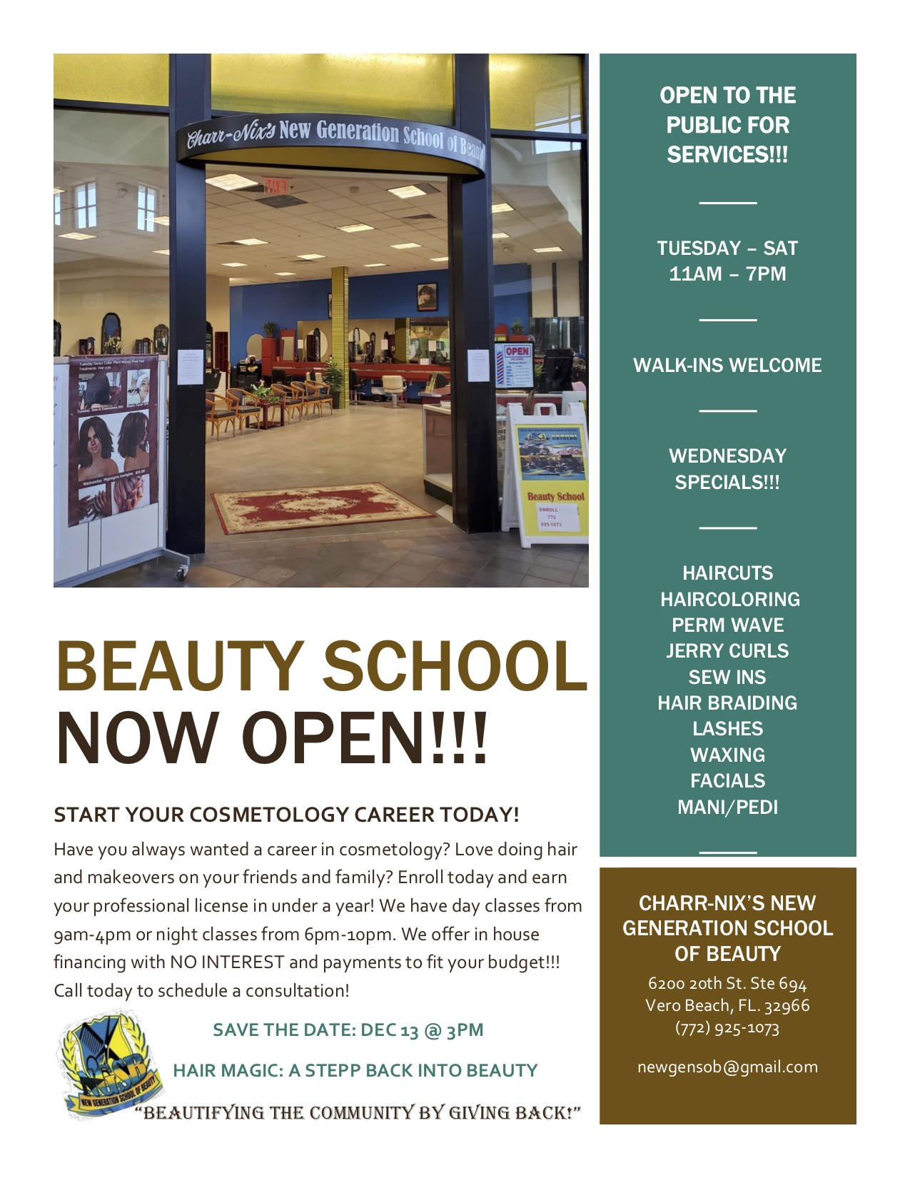 beauty school now open for walk-ins and treatments