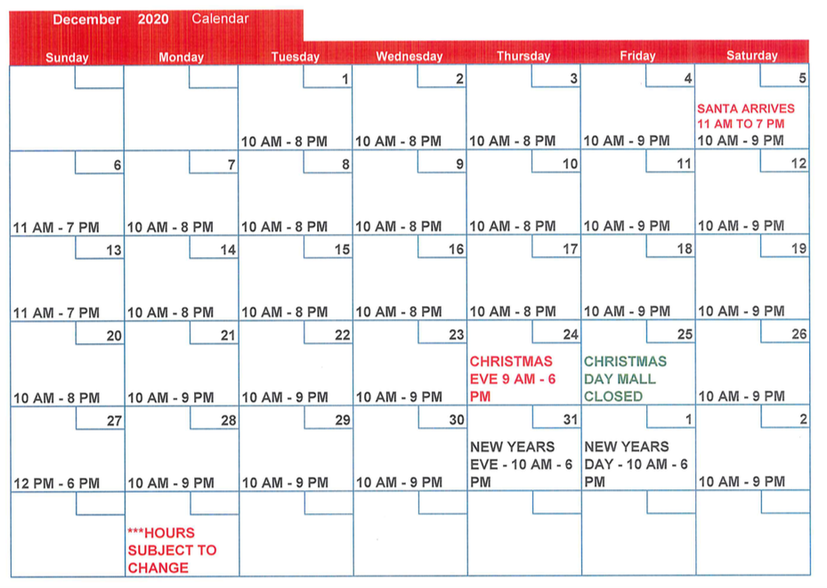 calendar of holiday hours for Indian River Mall