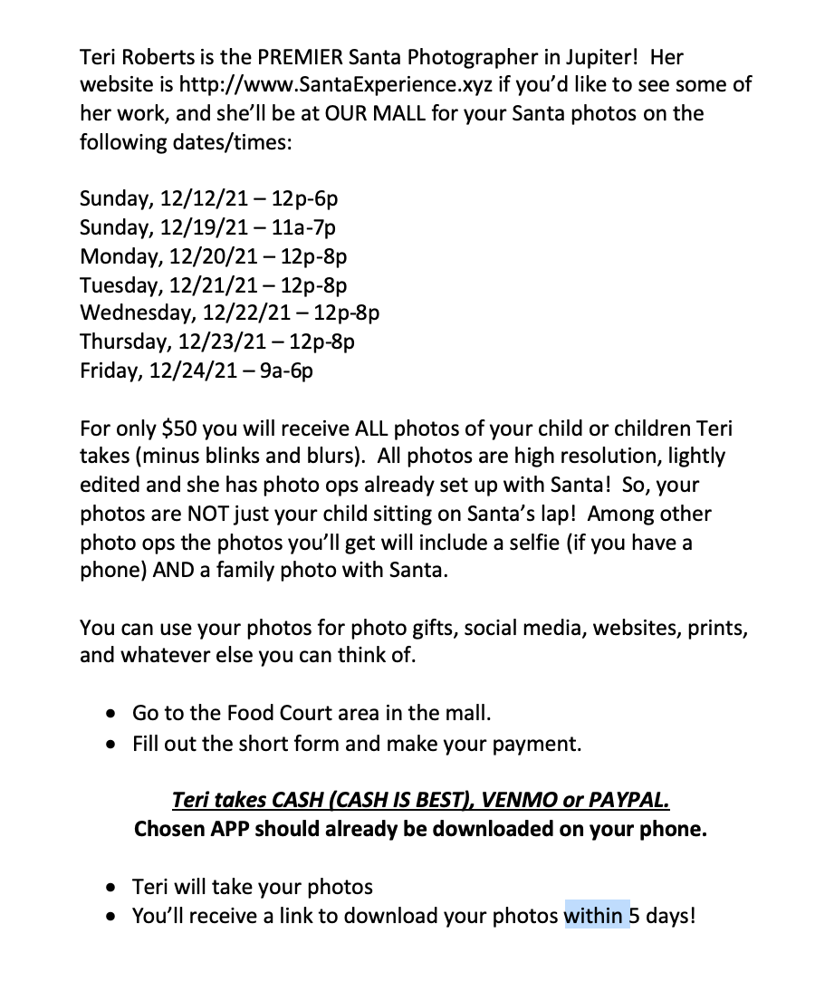 terri roberts santa photography at indian river mall. $50 for a package select days 12/12-12/24