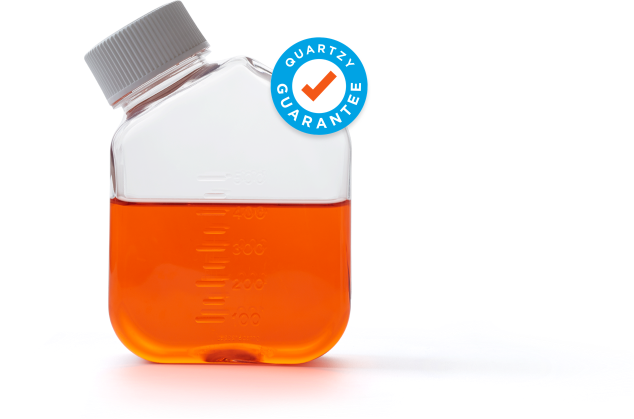 Scientific container holding orange liquid with Quartzy Guarantee logo