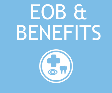 A light blue square button that takes you to EOB FAQs