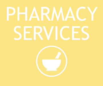 A bright yellow square button that takes you to pharmacy information