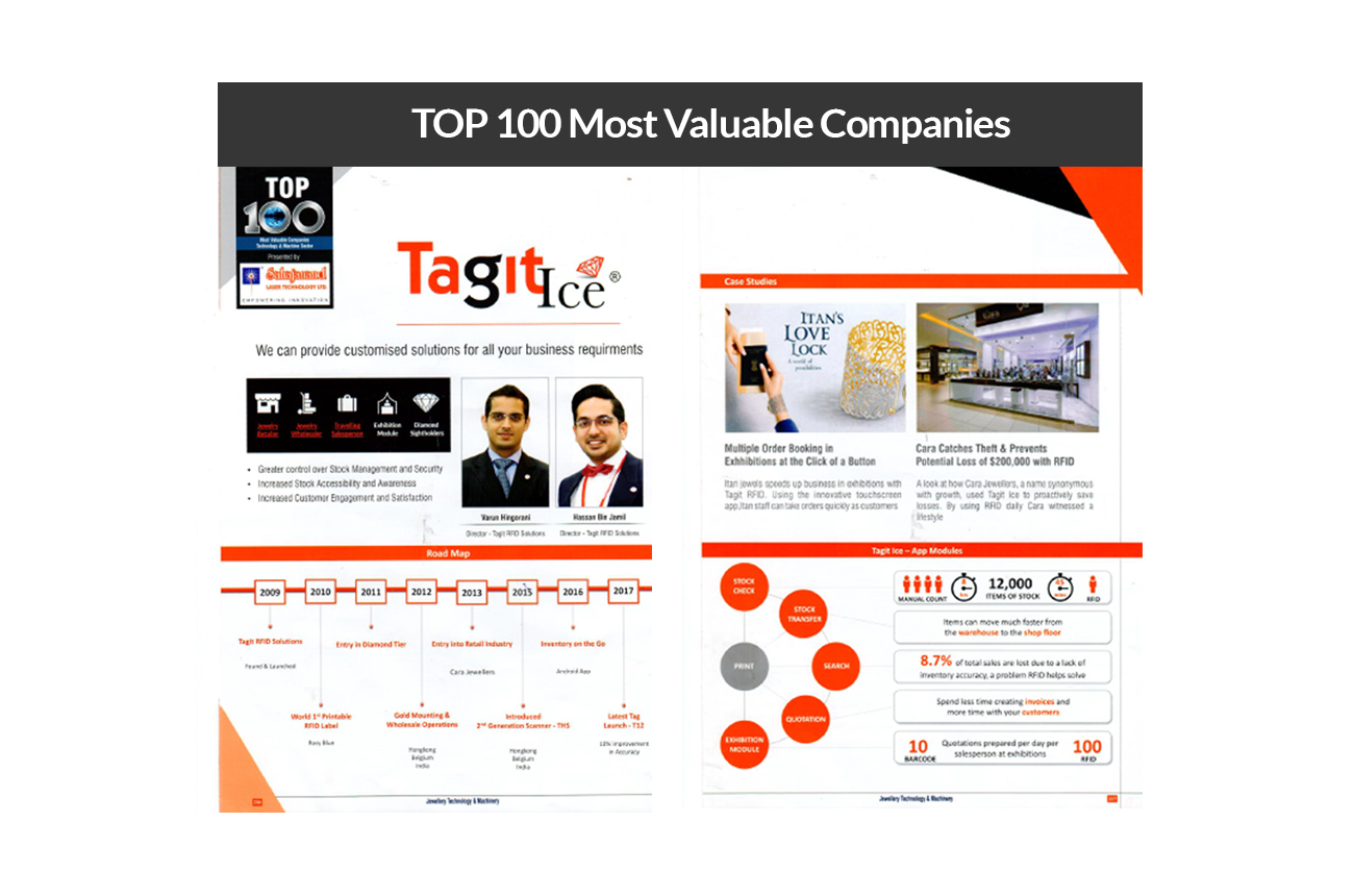 Tagit RFID Solutions under Top 100 most valuable companies.