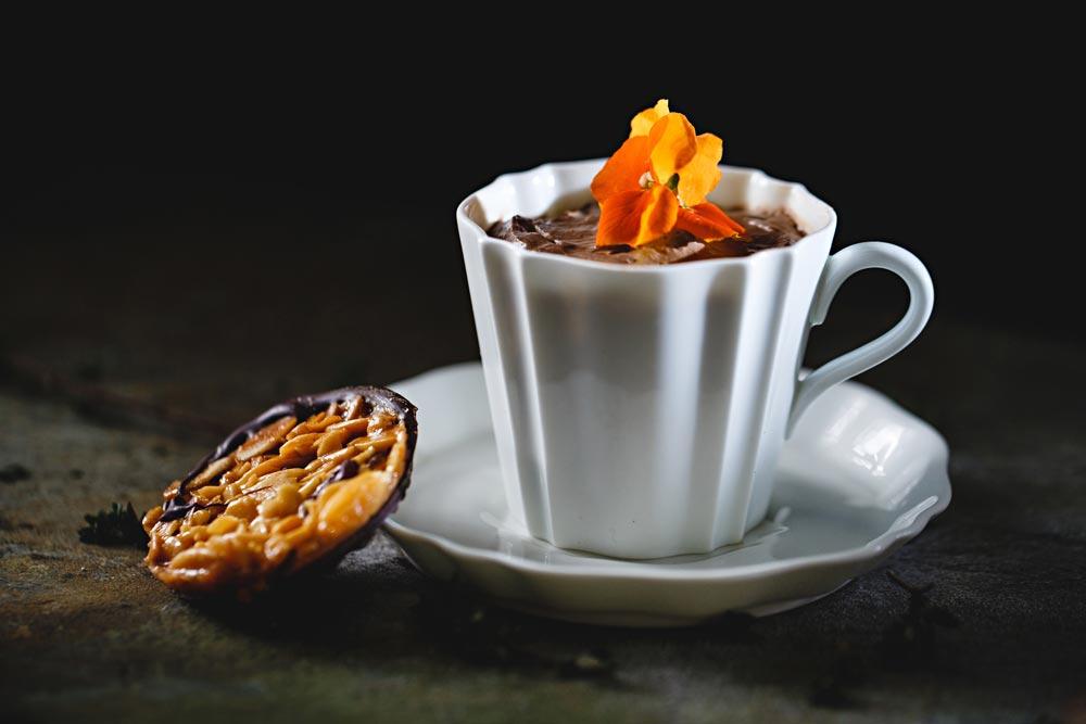 dessert in tea cup