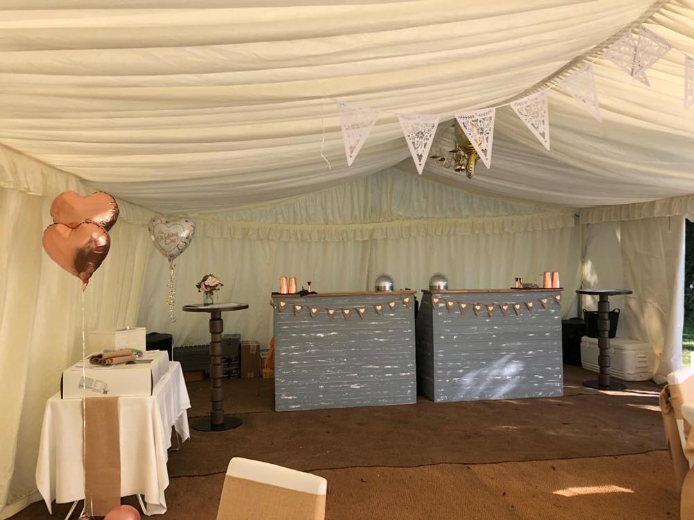 Bars set up at wedding