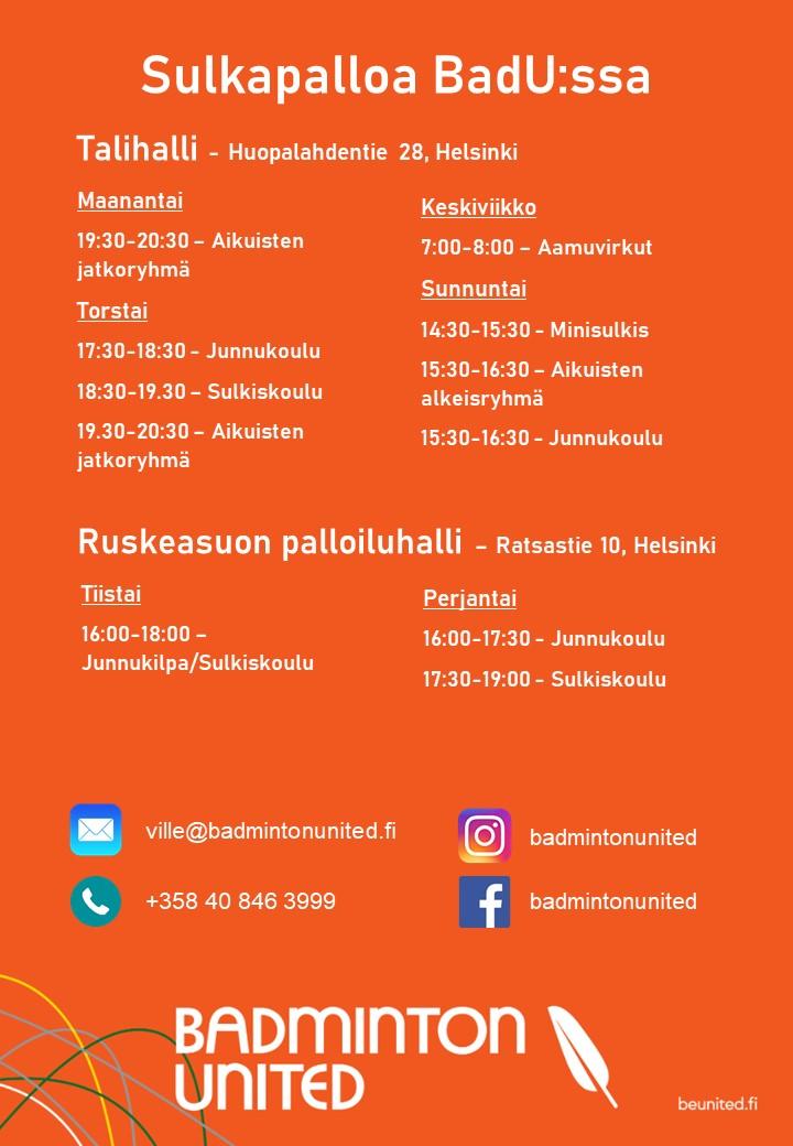 Syksyn harjoitusvuorot Helsingissä!