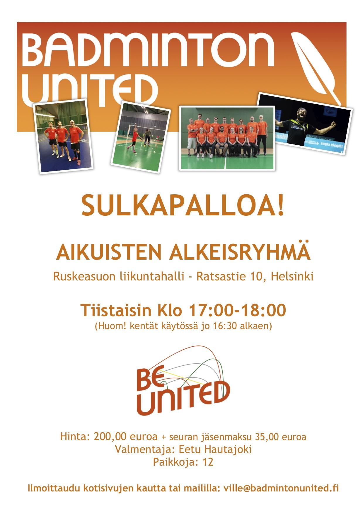 Lisäsimme uuden aikuisten alkeisryhmän Ruskeasuolle (Helsinki)!! Sulkapalloa Helsingissä.