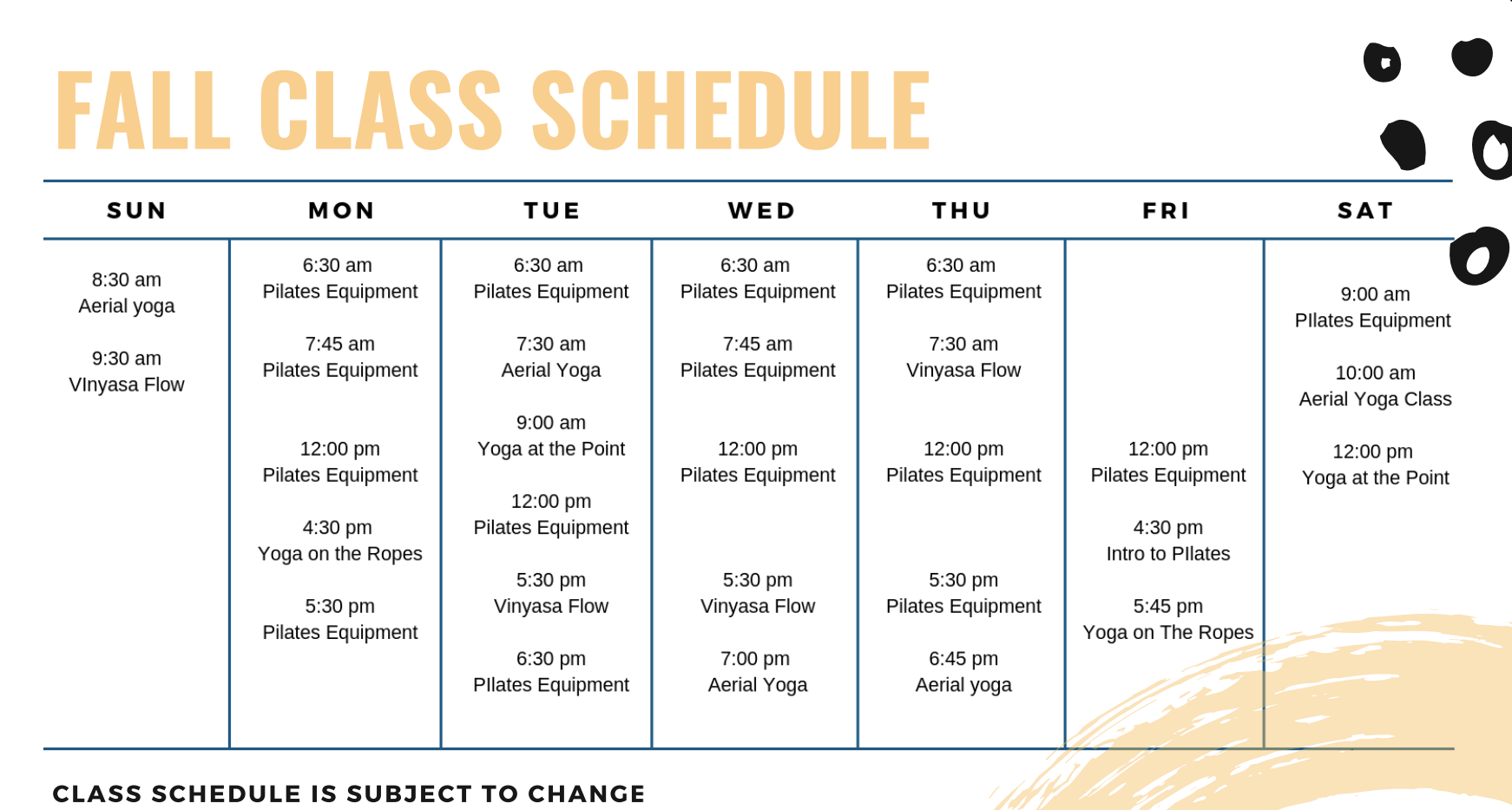 Verve Class Schedule