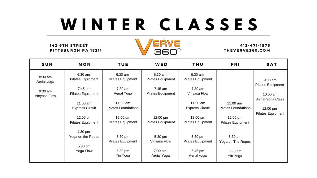 Verve Winter 2020 Class Schedule