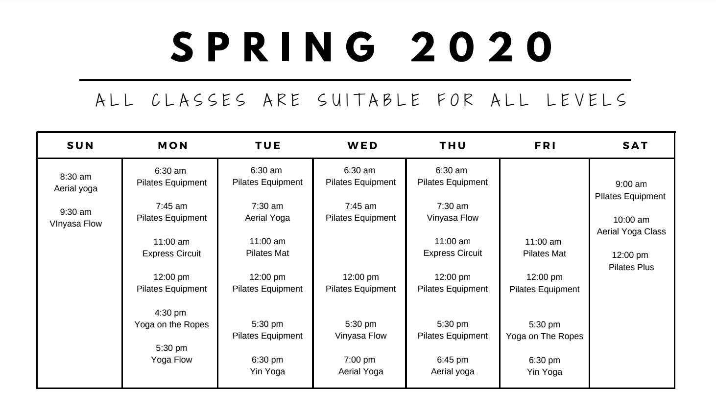 Verve Spring 2020 Class Schedule