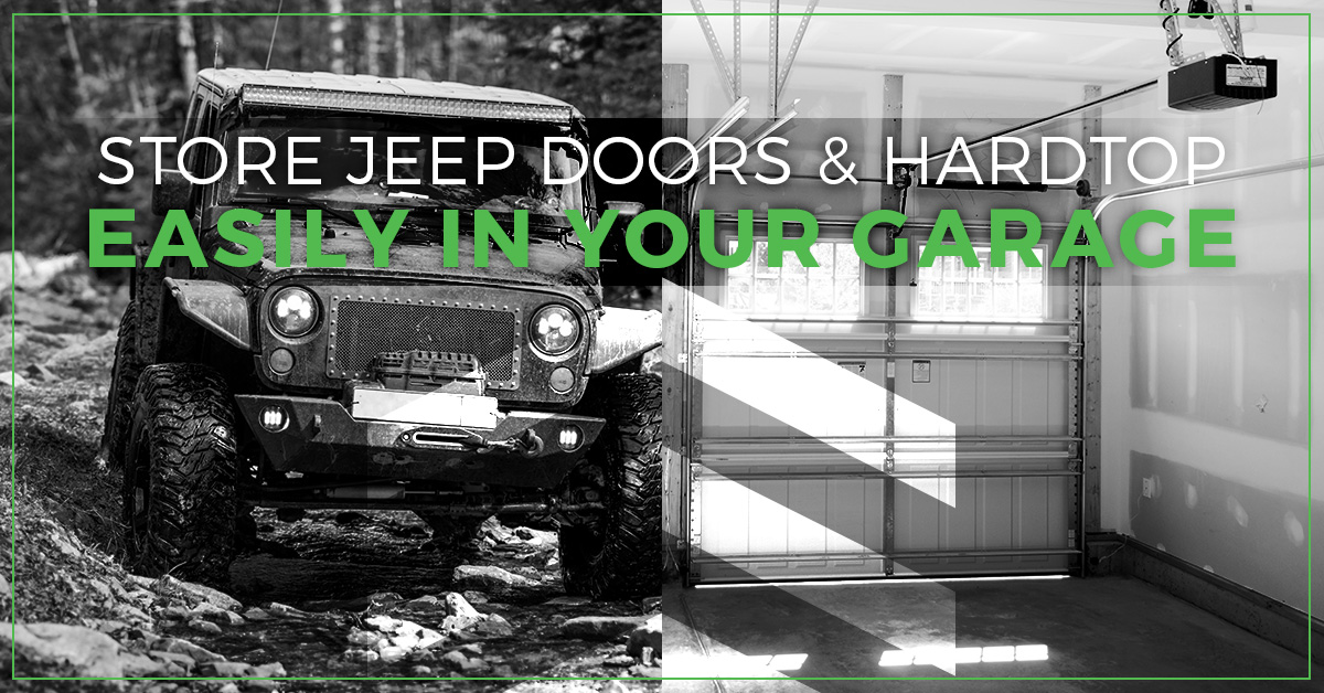 Jeep wrangler and a garage