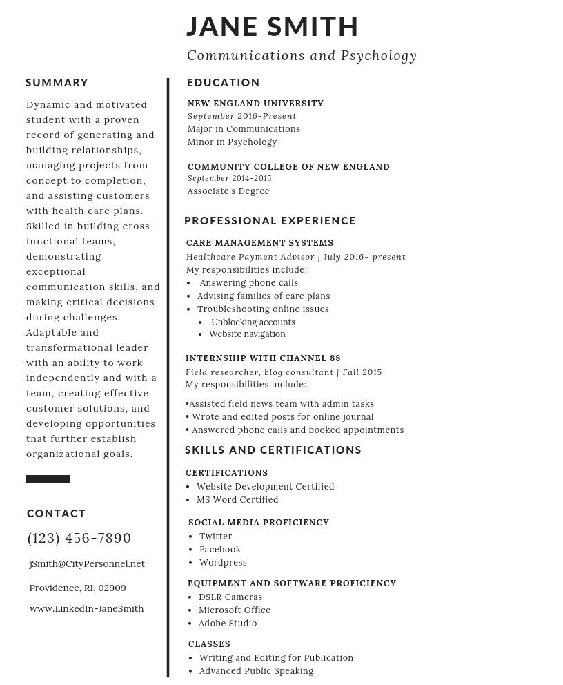 jane smith resume How to Write an Effective Resume