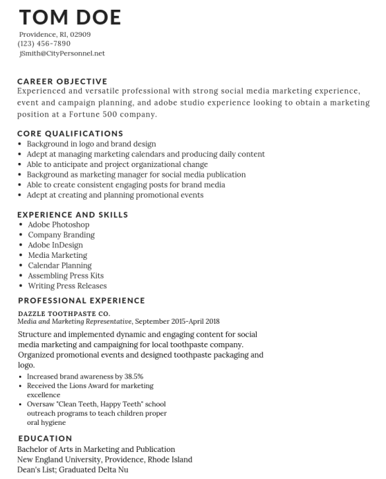 tom-doe-functional How to Write an Effective Resume