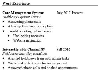 resume work exp