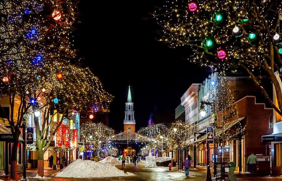 Christmas lights and church