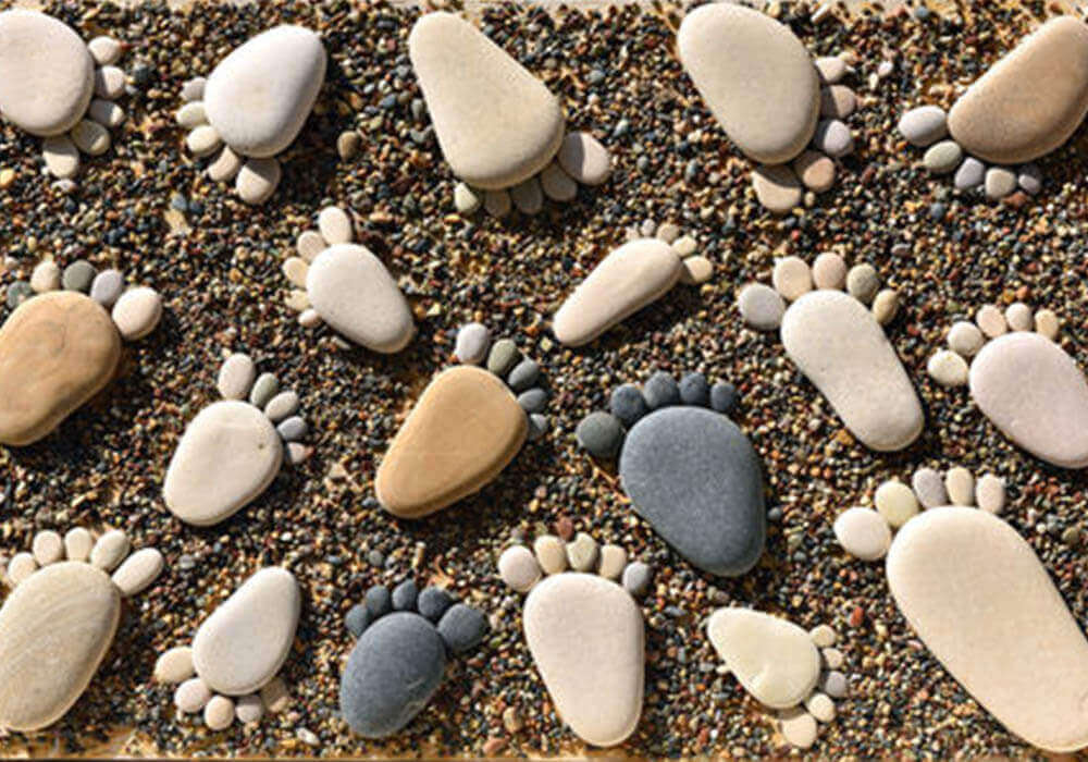Stones in the shape of footprints