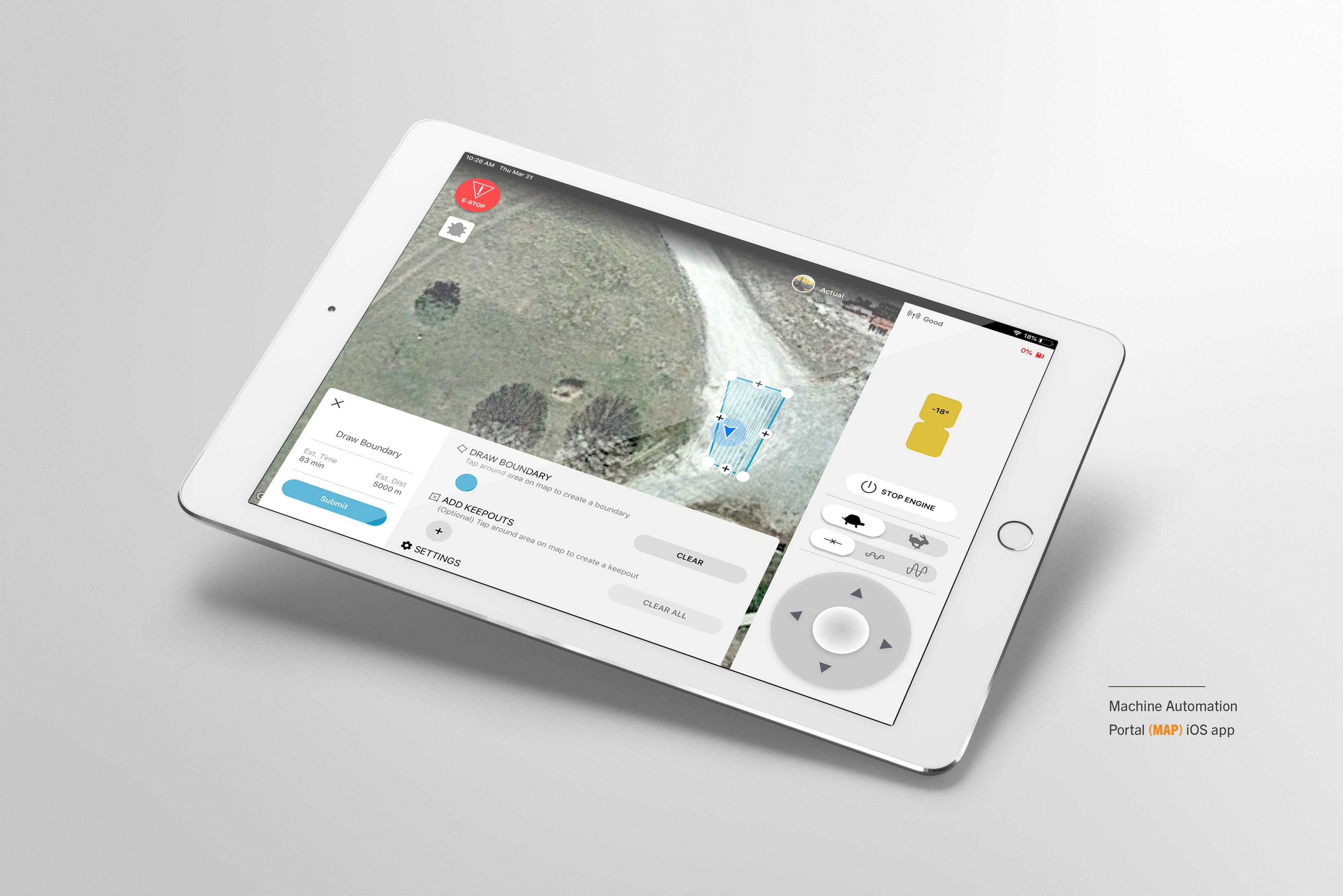 robotics dashboard on tablet