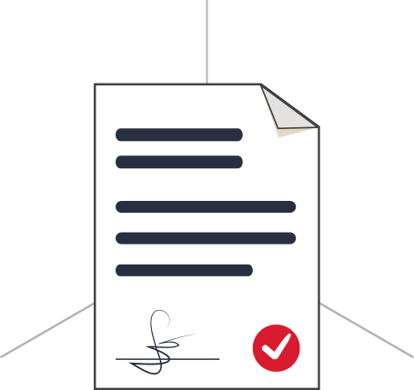 White document, signed and approved with red tick